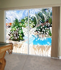 Tropical Oasis Etched Glass Palm Tree Design Fabulous On