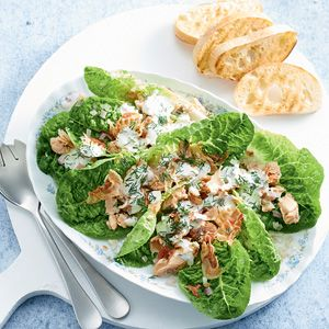 Recept - Zalmsalade met pancetta en dillesaus - Allerhande
