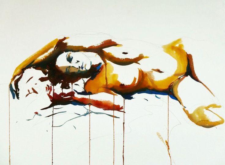 """Cristina Carturan """"Sara"""" - Ecoline 75x55 cm  [Credo che prima o poi verrò perdonata.  Perché la metà dei miei sbagli li ho commessi per amore e l'altra metà, anche. -Edvania Paes - ]"""
