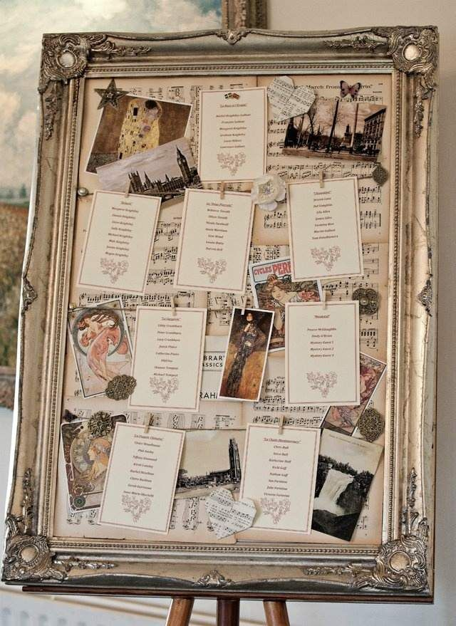 idée plan de table mariage romantique- pêlemêle de photos, cartes avec tableaux et partitions musicales