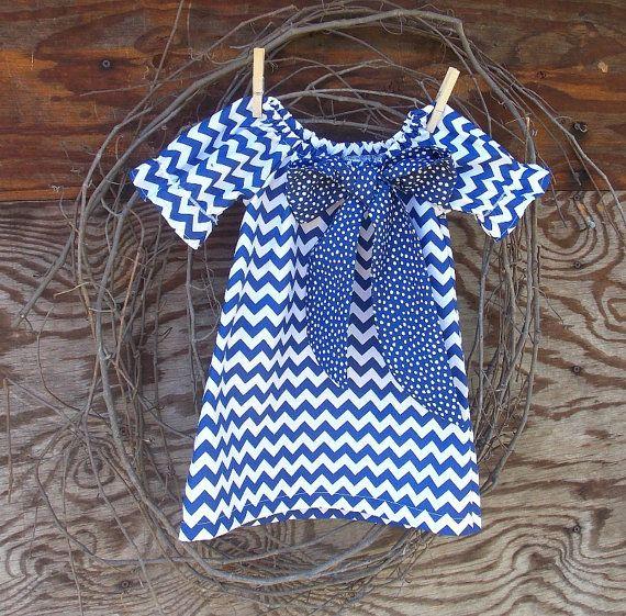 Girls Chevron Dress, Chevron dress, Easter Dress, Peasant Dress, Royal Blue and white, 6, 12, 18, 24 mon, 2 T, 3 T, 4 T, 5, 6, 7, 8, 10