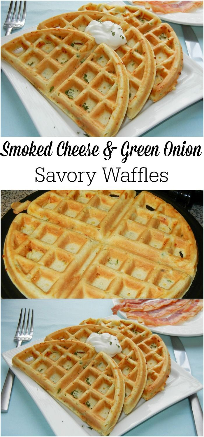 Different take on waffles that will make you wonder why you haven't been eating them every morning. Savory waffles made with smoked cheddar cheese and scallions.