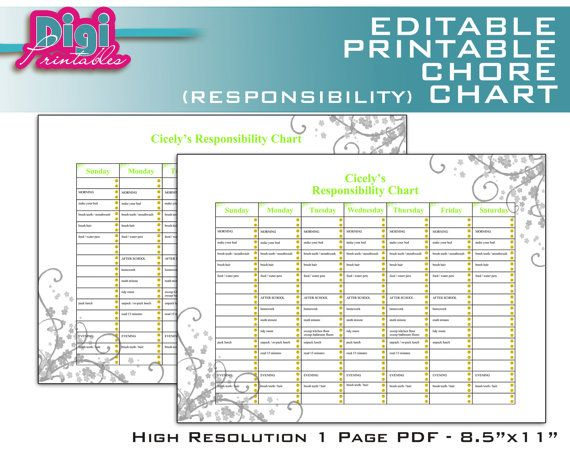 Editable / Printable Chore Chart Responsibility Chart by DigiPrintables on  Etsy