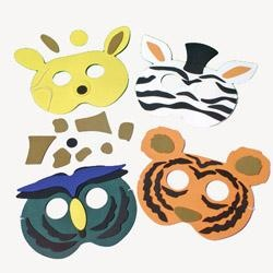 animal party masks. with sticks, not string