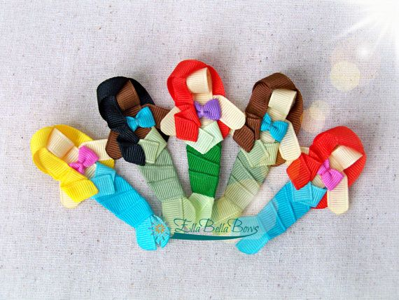 Mermaid Ribbon Sculpture Hair Clip Mini Under by EllaBellaBowsWI