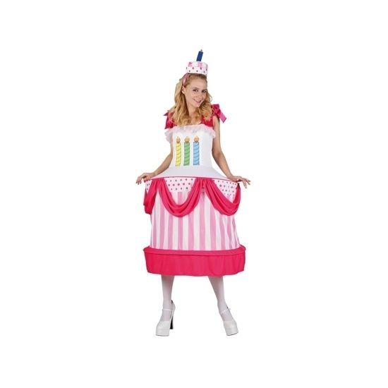 One size verjaardagstaart kostuum voor dames. Ga verkleed als taart met dit grappige kostuum! Het kostuum bestaat uit een jurk met hoepel en een hoedje. Materiaal: 100% polyester.
