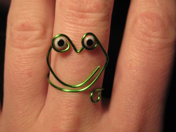 Wire Wrapped Green Frog MADE to ORDER Ring With Eyes by 1ofAkinds, $6.00