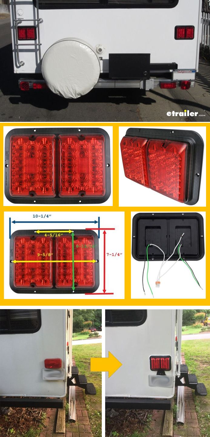 Bargman Led Double Tail Light 4 Function 36 Diodes Rectangle