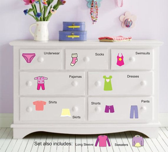 Dresser Clothing Decal  Labels  Girls by WallapaloozaDecals