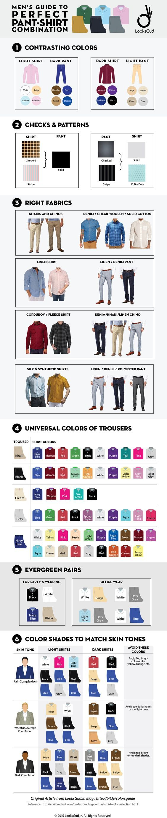 Perfect Pant Shirt Matching Guide for Men's Formal and Casual Look #Infographic #Fashion #LifeStyle