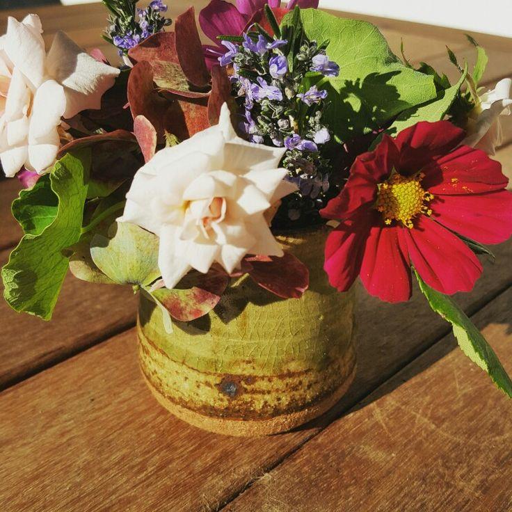 Weekly posy - rose, cosmos, rosemary, nasturtium, hydrangea