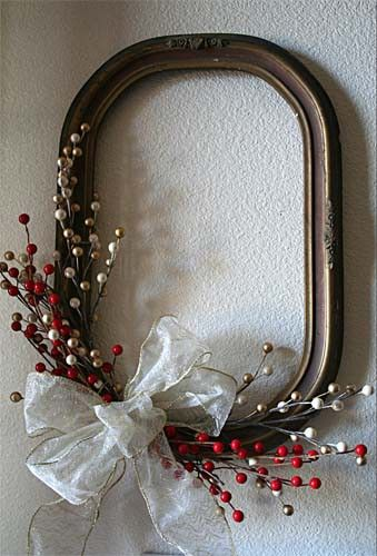 Old frames without glass can become a wreath