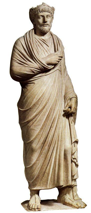 "Emperor Julian (""the Apostate""), Roman statue (marble), 4th century AD, (Musée du Louvre, Paris)."