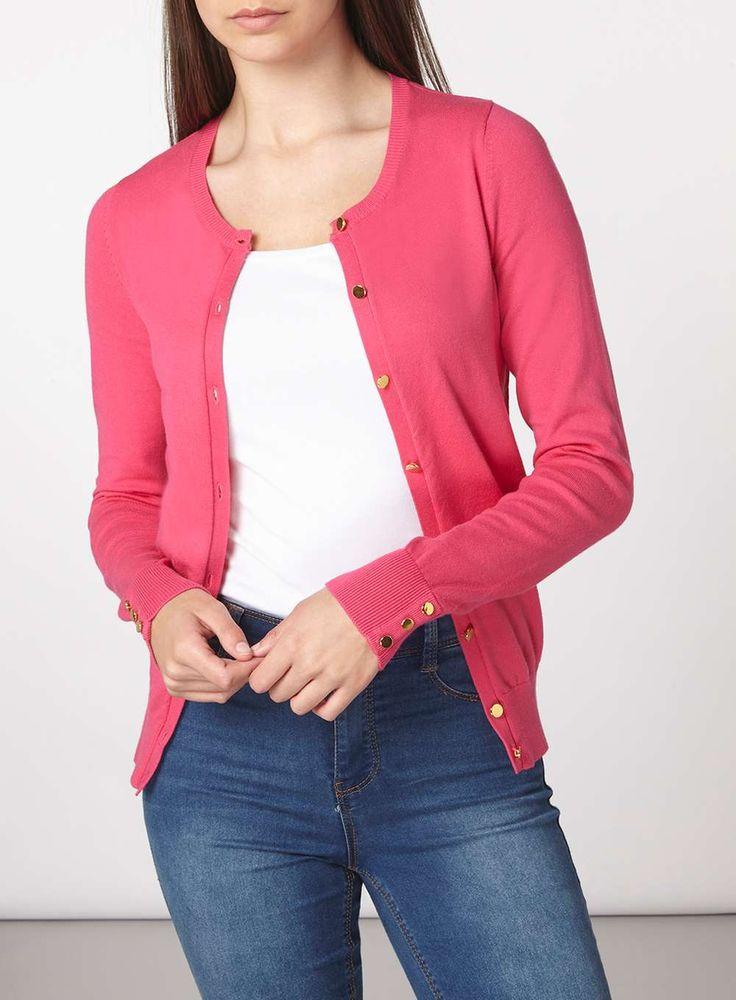 Womens **Tall Fuchsia Cotton Cardigan- Pink