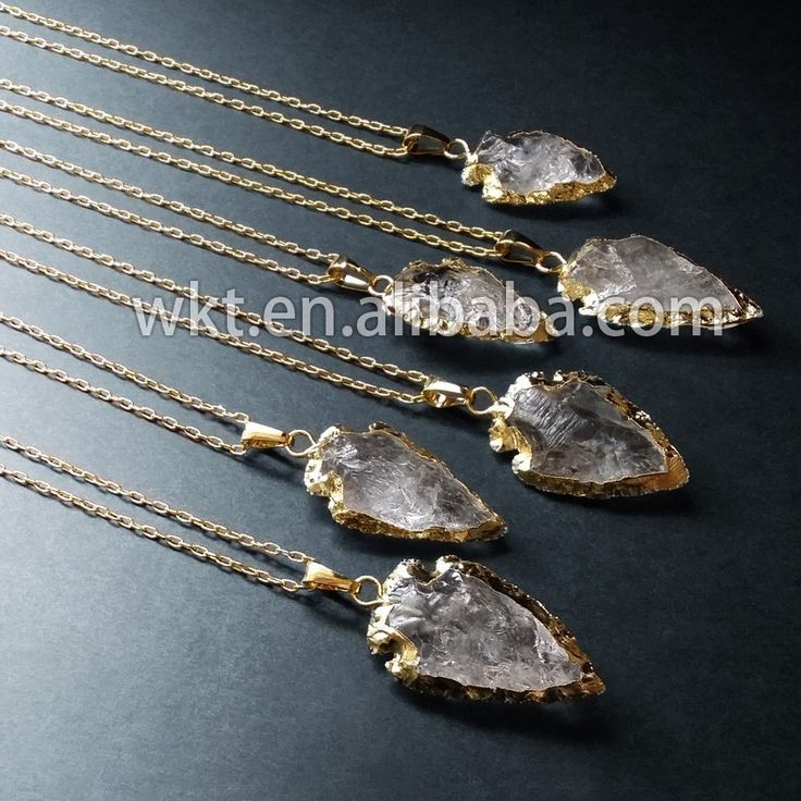 Natuurlijke ruwe kristal kwarts ketting, 24-karaats vergulde steen ketting