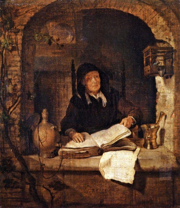 Gabriël Metsu - Oude vrouw met boek