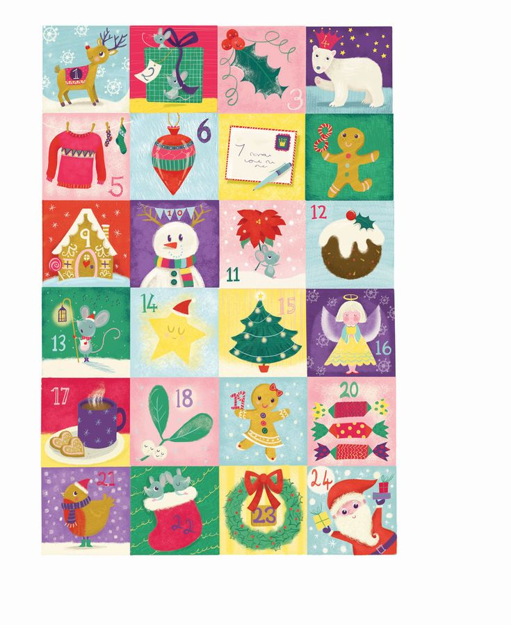 melanie mitchell christmas advent  calender, reindeer, mouse, bear, gingerbread man .jpg