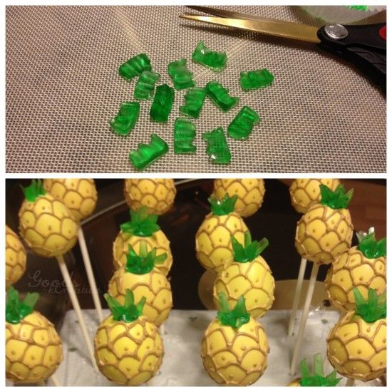 These pineapple cake pop tops are made with gummi bears that I cut up with scissors. I think this is one of my best candy improvisations to date