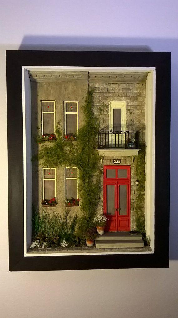 Dollhouse Miniature House Diorama Shadowbox Art от ModartDiorama