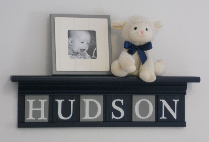 """NAVY and GRAY Nursery Wall Decor / Room Decor - Personalized for Baby HUDSON on 24"""" Navy Shelf with 6 Grey and Navy Blue Wall Letters. $48.00, via Etsy."""