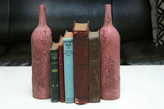 What a great idea low profile bookends made from colored concrete by jonathan haywood of - Empty colored wine bottles ...