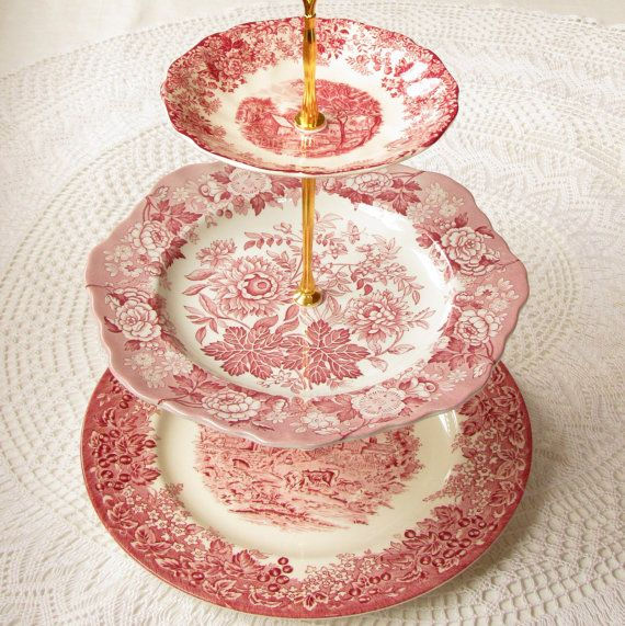 FOR G Alice u0026 a Red Hen Vintage Transferware 3 Tier Tea Stand Cupcake Tower Display Wedding Centerpiece or Tiered Buffet Table Serving Tray  sc 1 st  Pinterest & 7 best Cake stand images on Pinterest | Afternoon tea Amazing cakes ...