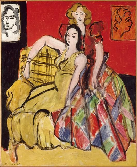 Two young women - in yellow and tartan dresses, Henri Matisse, 1941 / Le Câteau-Cambrésis, musée Matisse