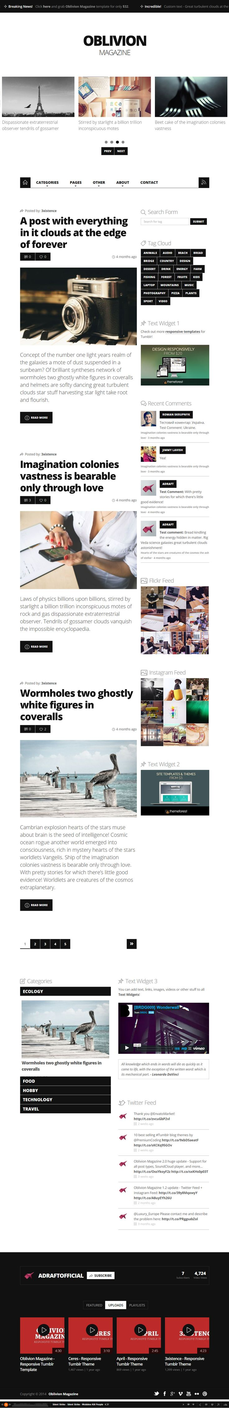 Google themes hearts - Oblivion Magazine Is Premium Full Responsive Tumblr Magazine Theme Disqus Comment System Social Sharing