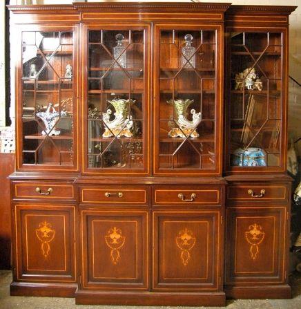 Regency Sheraton Breakfront Bookcase Antique  Regency Style Furniture Has  Plainu2026
