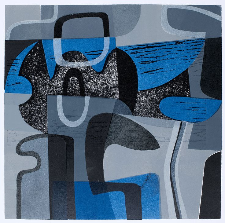 'Blue Green Form' woodcut and stencil print by Peter Green OBE http://www.stjudesprints.co.uk/collections/peter-green