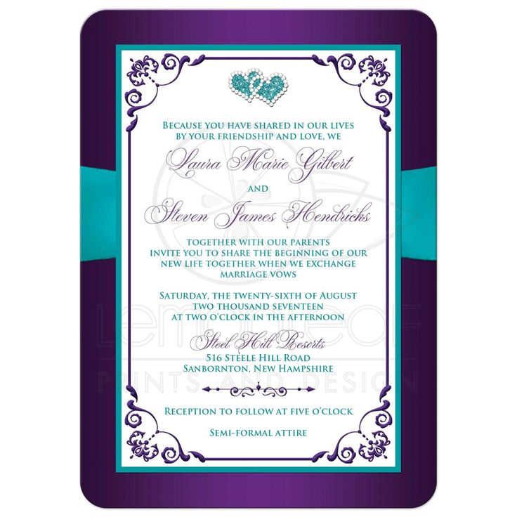 Purple, turquoise blue and white floral wedding invitations with aqua ribbon, bow, jeweled joined hearts, ornate scrolls and flourish.