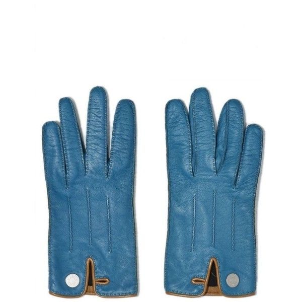 Blue Lambskin Gloves ($720) ❤ liked on Polyvore featuring accessories, gloves, lambskin leather gloves, lambskin gloves and blue gloves