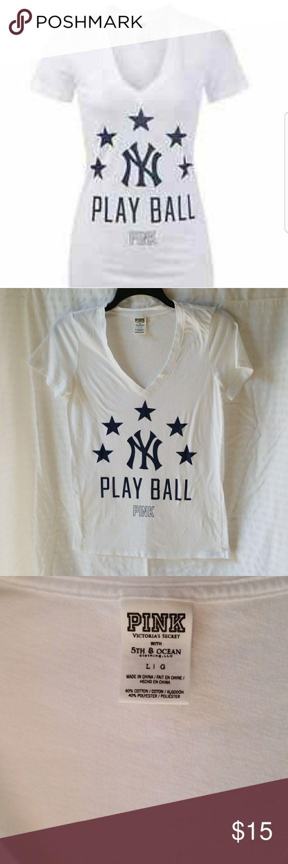 Victoria's Secret Women's New York Yankee's T Victoria's Secret Pink New York Yankee's t-shirt. Size large. EUC. 60% cotton, 40% polyester. Smoke-free home. Victoria's Secret Tops Tees - Short Sleeve