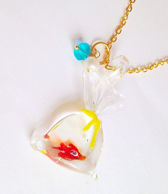 Goldfish In A Bag Necklace Fairground Funfair by XKawaiiCutieX