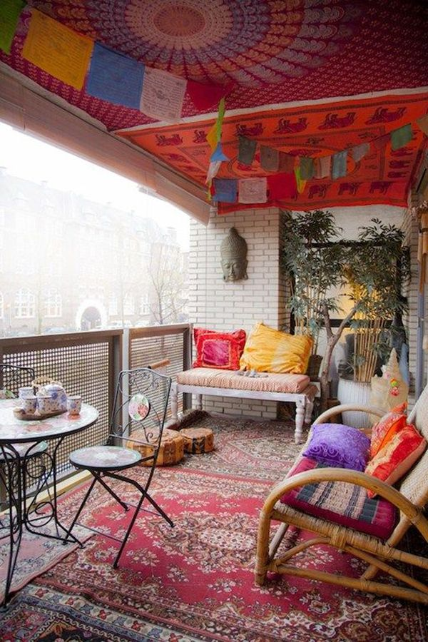 I love this colorful canopy look. - 30 Beautifully Boho Chic Balcony Ideas (screen for privacy)
