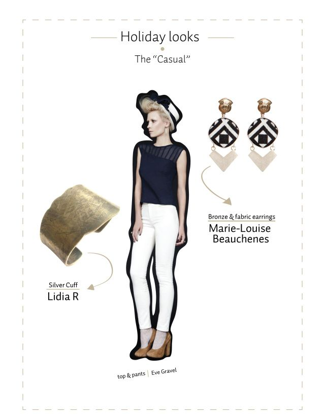 Lidia R gold cuff and black and white Victoria earrings by Marie-Louise Beauchesne