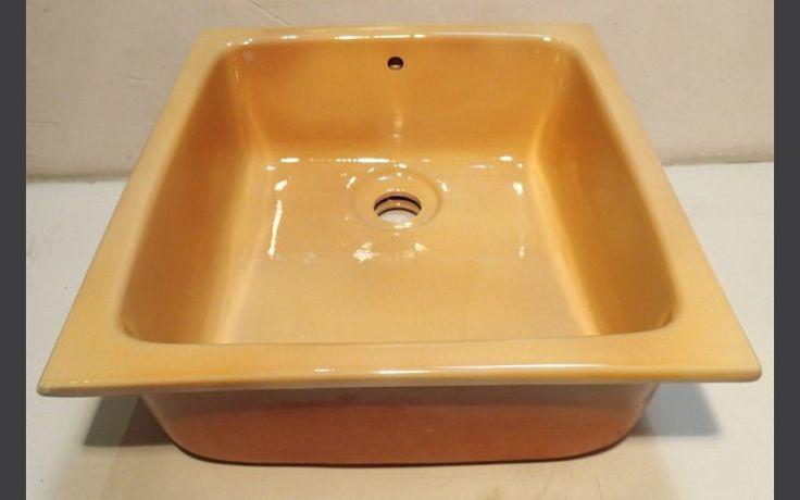Evier carré à encastrer 45 x 45 x h 18 jaune provençal - Fabrication artisanale - Idéal pour cuisine - pool house - cuisine d'été