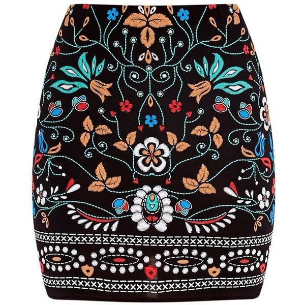 Marni Black Embroidered Print Mini Skirt (€19) ❤ liked on Polyvore featuring skirts, mini skirts, bottoms, saias, short skirts, marni, mini skirt, short mini skirts and embroidered skirt