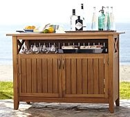 Hampstead Buffet (Pottery Barn).  Whole Hampstead collection is nice - teak is great for outdoors.