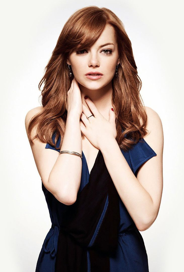 Emma Stone -- hair -- love the color and bangs.