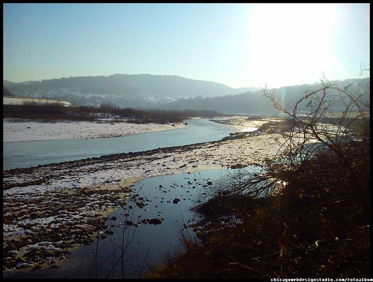 Skawce-Skawa-zima_6.jpg  #Skawa #Polska #Poland #małopolskie #powiat-suski #Beskidy #Tarnawa-Dolna #Skawce #Zembrzyce #Zarębki #zalew #zapora #Jezioro-Mucharskie #Mucharz #zapora-w-Świnnej Porębie #rzeka-Skawa