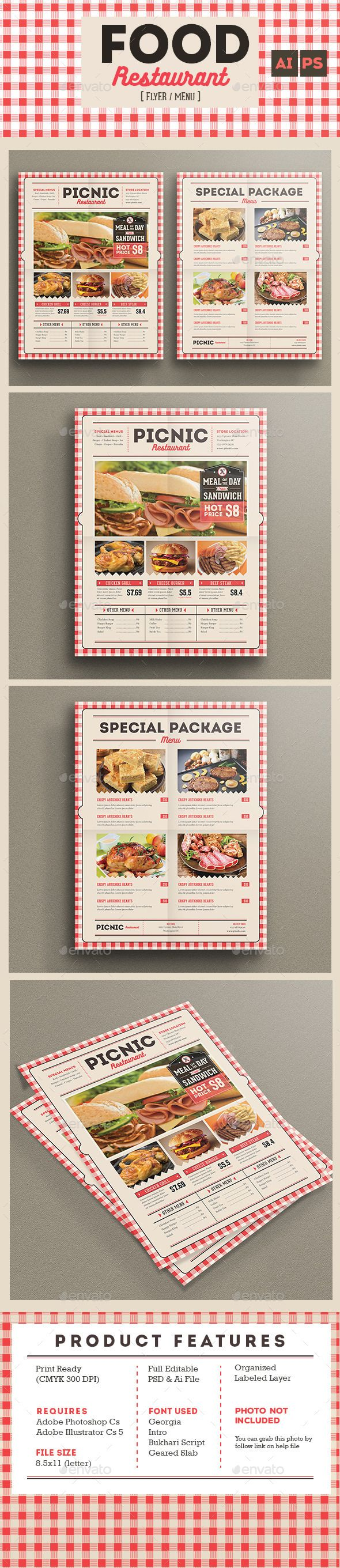 Retro Flyer Menu Food Restaurant Template PSD, AI #design Download: http://graphicriver.net/item/retro-flyer-menu-food-restaurant/13665015?ref=ksioks