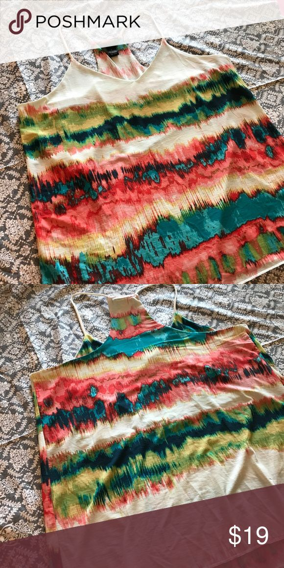 Rue21 Rainbow Spaghetti Strap Tank Top Extra bright and colorful Rue21 tank top! Entire top has a watercolor like rainbow design, and spaghetti straps meet to create a racerback. Worn only once, in like-new condition! Rue21 Tops Tank Tops