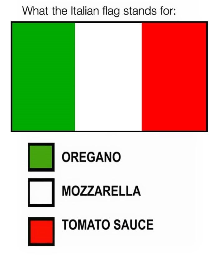 People Hilariously Explain The True Meaning Behind National Flags Italian Flag Funny Italian Jokes Flag Quote
