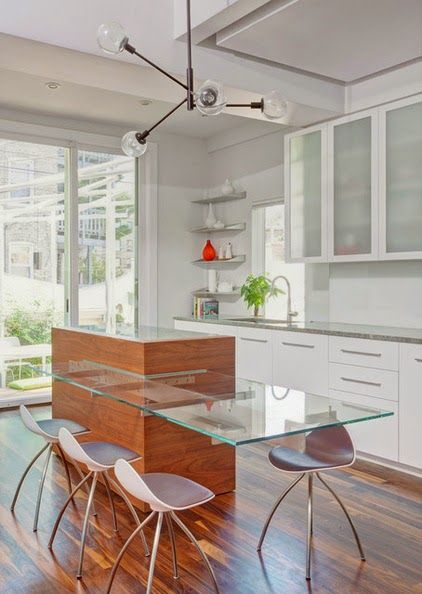 Stunning Kitchen With Glass Countertop Bar Love The Frosted Cabinet Fronts Too