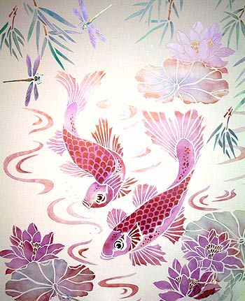 Stencils Koi Carp, Waterlily, Bamboo & water swirls