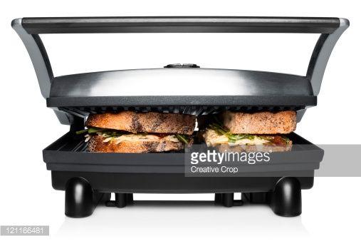 Stock Photo : Stainless steel panini toaster