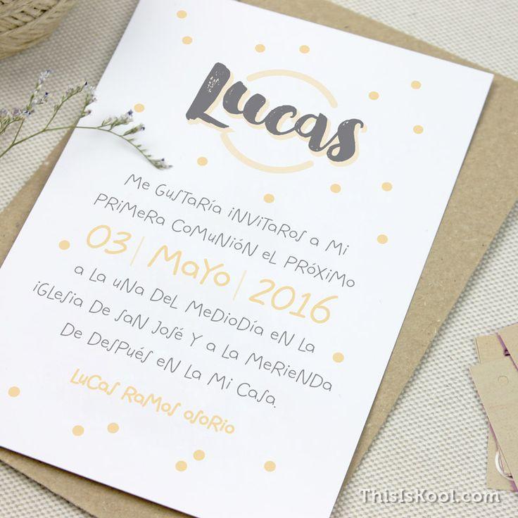 """Invitación Primera Comunión - """"ESTAMPADO""""   This Is Kool ©  """