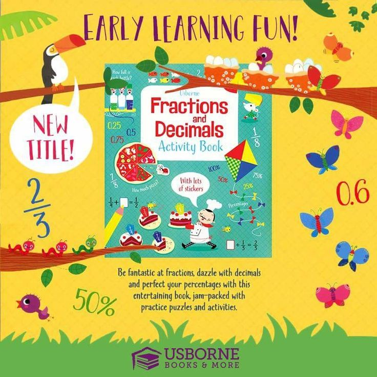 A colorful, write-in book featuring a multitude of fractions and decimals puzzles, encouraging children to practice.