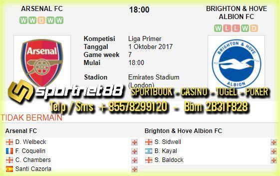 Prediksi Skor Bola Arsenal vs Brighton & Hove Albion 1 Okt 2017 Liga Inggris di Emirates Stadium (London) pada hari Minggu jam 18:00 live di Bein Sport 1